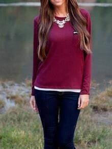 Burgundy Round Neck Zipper Pocket T-Shirt