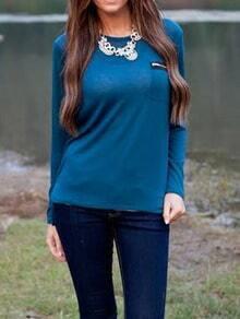 Blue Round Neck Zipper Pocket T-Shirt