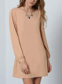 Khaki Long Sleeve Casual Dress