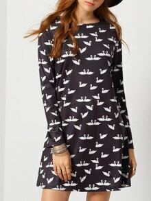 Black Long Sleeve Swan Print Dress
