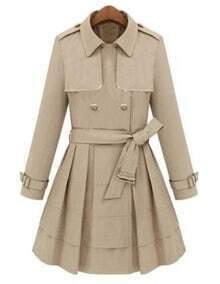 Beige Lapel Tie-Waist Double Breasted Coat