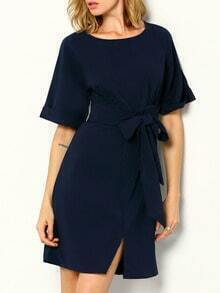 Navy Workplace Short Sleeve With Bow Zipper Dress