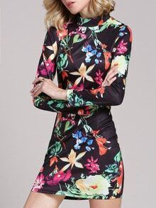 Black Challis Long Sleeve Floral Flowery Pastel Bodycon Dress