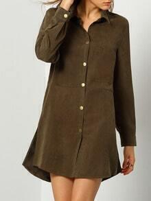 Grey Long Sleeve Design Lapel Dress