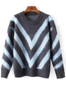 Grey Blue Round Neck Wave Pattern Sweater