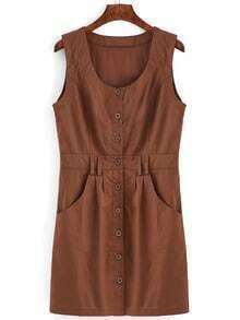 Khaki Button Front Belted Vest Dress