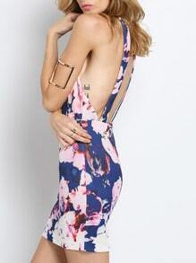 Blue Halter Backless Floral Print Dress