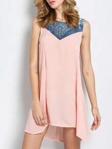 Pink Round Neck Sleeveless Bead Crystals Rhinestone Loose Dress