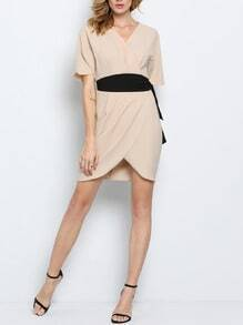 Pink Neutral Short Sleeve Waistband Raw V Neck Zipper Dress