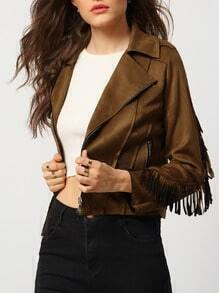 Khaki Lapel Tassel Zipper Crop Jacket