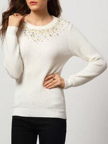 White Round Neck Bead Slim Knitwear