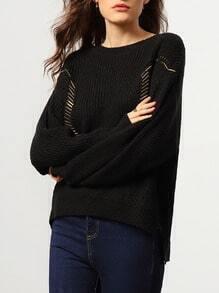 Black Round Neck Bead Loose Sweater