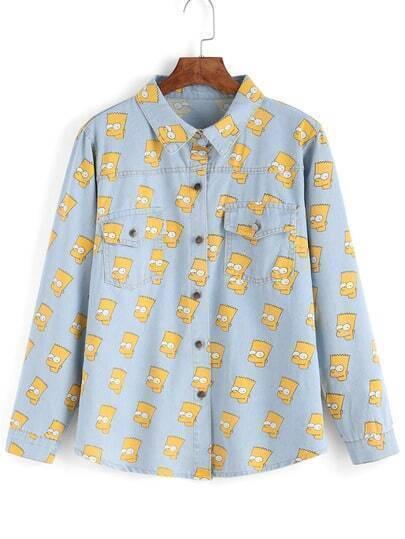 Jeans-Bluse mit Simpson-Druck, hellblau