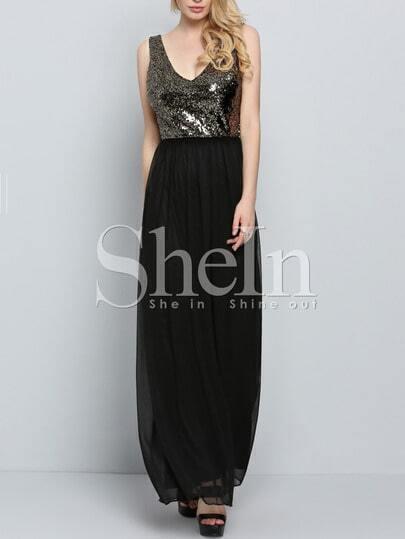 Black V Neck Evening Sleeveless Glittering Sequined Glitzy Maxi Dress