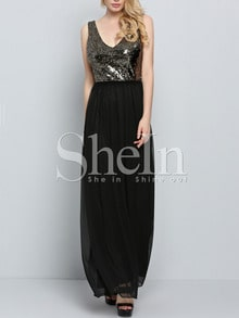 Black V Neck Evening Sleeveless Glittering Sequined Glitzy Maxi Dress