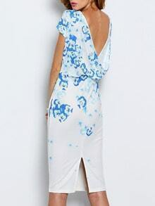 White Workplace Cap Sleeve V Back Flowery Floral Print Fishtail Dress