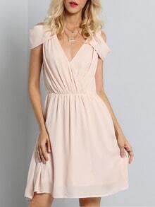 Pink Off The Shoulder V Neck Pleated Dress