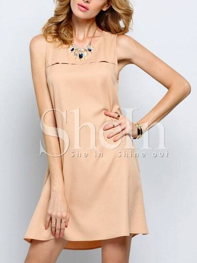 Mocha Apricot Sleeveless Pockets Casual Dress Sundress