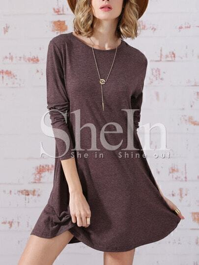 Coffee Long Sleeve Jumpers Babydoll Casual Dress