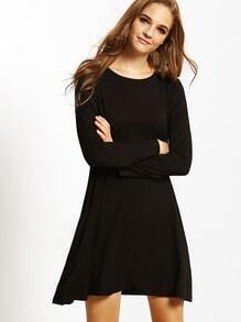 Black Long Sleeve Pockets Designers Casual Dress