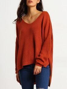 Brown Long Sleeve Loose Sweater