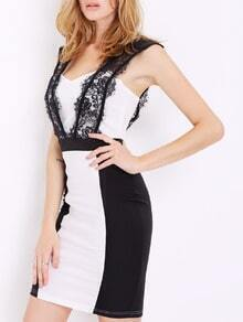 White Black Sleeveless With Lace Color Block Dress