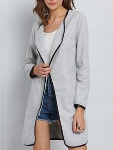 Grey Long Sleeve Lapel Pockets Coat