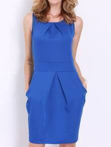 Blue Sleeveless Pockets Zipper Dress