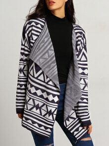Blue White Long Sleeve Geometric Print Sweater