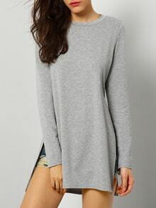 Grey Round Neck Split T-Shirt