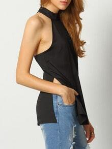 Black Sleeveless Backless Split Tank Top