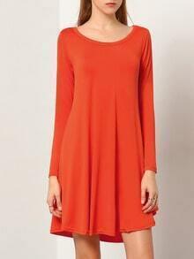 Orange V Neck Long Sleeve Loose Dress