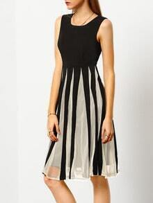 Color-block Coctel Sleeveless Underskirt With Mesh Pleated Dress