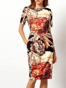 Multicolor Short Sleeve V Back Floral Dress