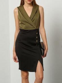 Army Green Sleeveless Color Block Split Dress