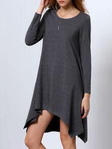 Grey Long Sleeve Jumpers Asymmetric Dress