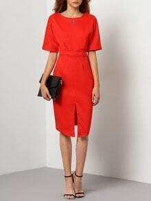 Orange Short Sleeve V Back Split Dress