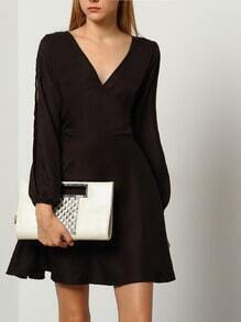 Black V Neck Split Sleeve Casual Dress