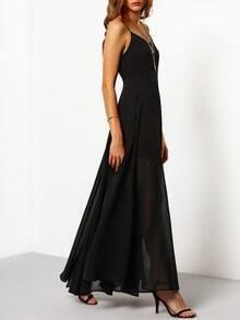 Black Floaty Promdress Spaghetti Strap Yule Split Chiffon Maix Dress