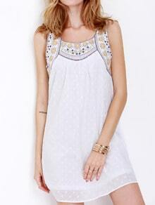Poplin Sleeveless Tribal Embroidered Dress