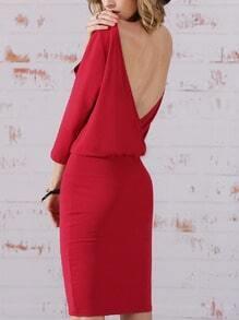 Rose Red Half Sleeve Elegantly V Back Dress