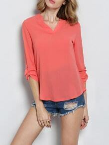 Red V Neck Dip Hem Blouse