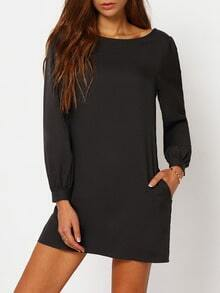 Black Lbd Long Sleeve Casual Dress