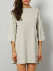 Pale Grey Half Sleeve T-Shirt Dress