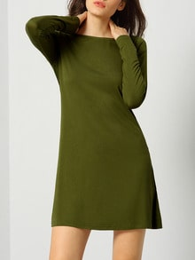 Army Green Long Sleeve Designers Casual Dress