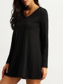 V Neck Long Sleeve A-Line Dress