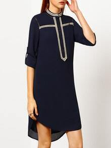 Navy Round Neck Long Sleeve Dress