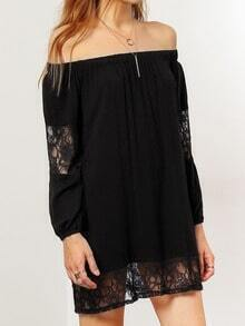 Black Off the Shoulder Sheer Lace Dress