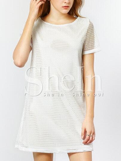 White Short Sleeve V Back Hollow Dress
