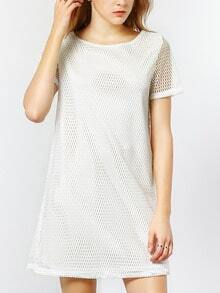 White Short Sleeve V Back Hollow Dress